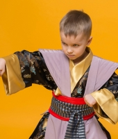 Чёрный костюм японского самурая для мальчика в прокат