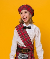 Шотландский красный костюм для девочки в аренду