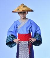 """Китайский костюм для мальчика в соломенной шляпе """"кули"""""""