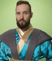 Костюм самурая в синем исполнении в прокат
