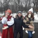 Празднование Масленицы в русских народных костюмах
